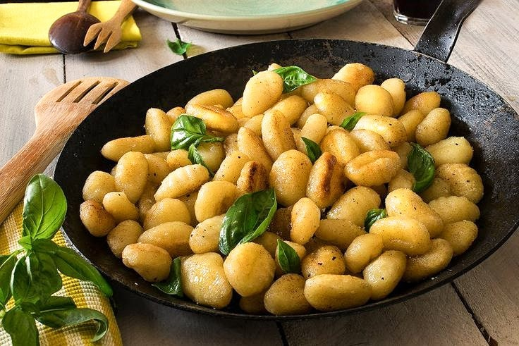 Pan fried gnocchi recipe with butter and basil